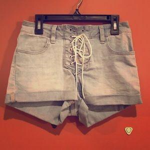 PACSUN Los Angeles Lace Up Denim Shorts